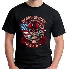 Velocitee da uomo Blood Sweat INGRANAGGI T shirt Teschio Racer Biker CALDO RAT ROD V34