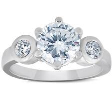 4ct F VVS1 Round Cut Moissanite & Diamond 3-Stone Ring 14K White Gold
