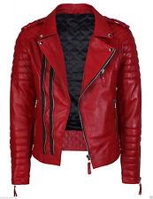 Men's Genuine Lambskin Quilted Leather Motorcycle Jacket Slim fit Biker Jacket -