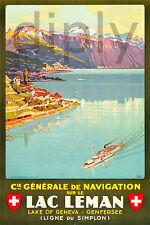 PLAQUE ALU DECO AFFICHE LAC LEMAN NAVIGATION GENEVA SIMPLON BATEAU CIE 1927
