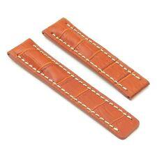 DASSARI Vantage Crocodile Tan Leather Watch Band Strap Deployment fit Breitling