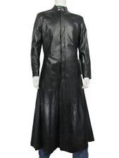 Men Long Black Napa Classic Fashion Biker Leather Matrix Jacket Neo Rock Coat