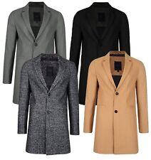Threadbare Mayfair Mens Smart Over Coat Crombie Style Jacket Grey Black Camel