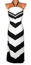 AJC Kleid GR. 32 34 36 38 Maxikleid Neckholder schwarz weiß Damen NEU - K61
