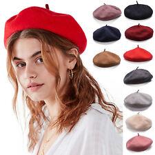 Womens Girls Classic100% Wool Beret French Artist Basque Beanie Winter Warm Cap