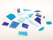 Blue Turquoise Fused Glass Bundle Bullseye Fusing Random Small Shapes Coe90