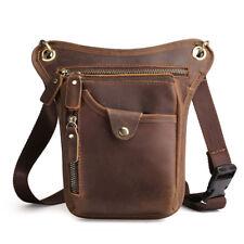 New Men's Crazy Horse Genuine Leather Drop Leg Fanny Waist Pack Belt Hip Bum Bag