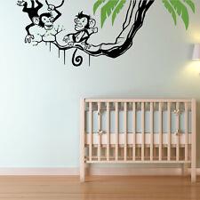 Swinging monkeys wall sticker art decal Jungle forest theme kids bedroom w212
