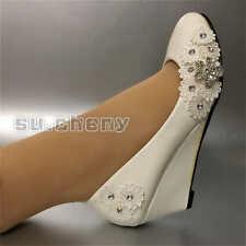 su.cheny Flat/heel/wedge white flat lace rhinestone flowers Wedding Bridal shoes