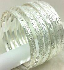 14k White Gold Filled Slip on Seamless Diamond Cut Bangle Bracelet Silver Qty 2