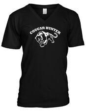 Cougar Hunter - Loves Older Woman  MILF Hot Moms Funny Mens V-neck T-shirt