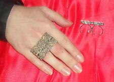 anello doppio dito FILIGRANA  RETTANGOLARE  PL BRONZO made in italy