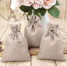 50/100pcs Burlap Linen Drawstring Pouch Wedding Party Favor Gift Candy Bags