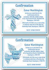 Personalised Boys Confirmation blue word art word cloud invitations x10