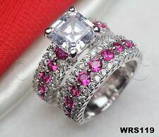 Pink White Sapphire Sterling Silver 925 Princess 6.7CTW Bridal Wedding Ring Set
