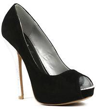 Black Velvet Silver High Stiletto Heel Open Toe Platform Dress Pump Qupid