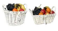 BIANCO SHABBY CHIC VIMINI Cucina Frutta Cesto di stoccaggio Natale Cesto Cesto