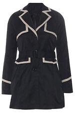 Womens Ladies Boutique Black Stone Smart Mac Coat Jacket Belt Collar Pockets