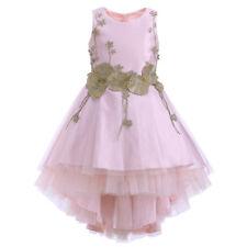 Flower Girls Prom Dress Kids Sleeveless Asymmetric Wedding Bridesmaid Gown 8-11Y