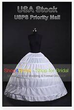 White 6-HOOP Wedding DressBridal Ball Gown Silps Crinoline Petticoat Underskirts