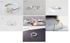925 Steling Silver mix design Adjustable Womern Girls Thumb Finger BOHO Ring
