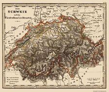 Old Switzerland Map - Switzerland and Liechtenstein - Stieler 1852 - 23 x 27.33
