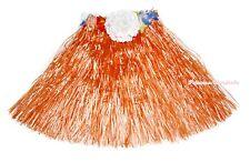 Halloween Kids Adult Flower Orange Hawaiian Hula Dance Grass Skirt Costume