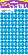 800 Blue Neon Smiles Reward Stickers