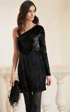 NEXT- BLACK SPARKLE DAZZLE VELVET STRIPED ONE SHOULDER PARTY DRESS- UK 12 14 16