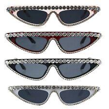 Womens Large Rhinestone Bling Flat Top Narrow Cat Eye Goth Sunglasses