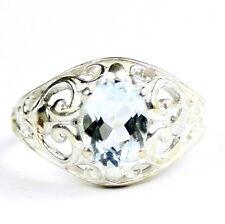 • SR111, 1.5 carat Aquamarine, Sterling Silver Ladies Filigree Ring, Handmade