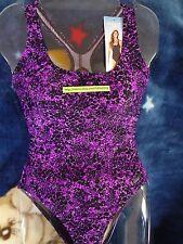 SPEEDO Women Swimsuit Size 6 to 18 Purples & Black Spots One-Piece Lady Sport!!