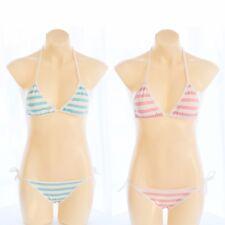 Cute&Sexy Anime Style Stripe Lingerie Bra Set String Tie Cosplay Bikini Sukumizu