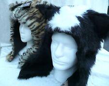 Unisex Faux Fur Animal Women Men Hat with Scarf Tiger Fox Skunk Owl Warm Beanies