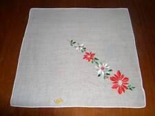 Vintage NWT Christmas Embroidered Poinsettia & Holly Hanky Handkerchief Hank