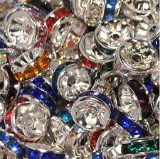 Al por mayor 1000 Piezas Cristal Espaciador Granos de Cristal Plata AAA, 8 mm, Opción de Color