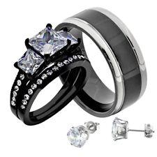 Black Stainless Steel Princess CZ His & Hers Wedding Ring Set + Free Earrings kk
