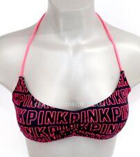 NEW Victoria's Secret PINK Logo Black Strappy Halter Bikini Top Size XS S M L