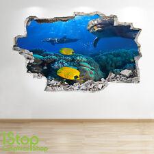Dolphin Pared Adhesivo 3D Look-Océano peces tropicales Ojo de Buey Playa Dormitorio Z100