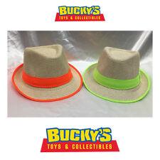 Child Fedora Burlap Hat Boys Girls Summer Straw Beach Sunhat Neon Orange - Green