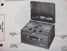 Eicor 1000 Tape Recorder Photofact Photofacts