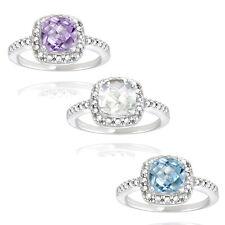 925 Silver Gemstone & Diamond Square Ring - 3 Options