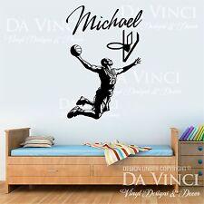 Basketball Player Slam Dunk Decal Custom Name Wall Personalized Vinyl Sticker B