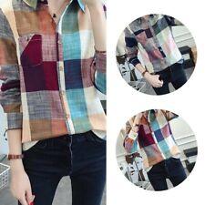 Women's Plaid Button Down Casual Long Sleeve Lapel Shirt Tops Blouse Plus Size