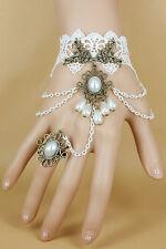 Bracelet Bague Vintage Ancien Perles Blanches et Dentelle - Mariage -