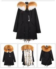 Women Winter Fur Coat Jacket Canvas Parka Rabbit Fur Lining & Raccoon Fur Trim