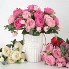 9 Heads Silk Cloth Peony Fake Flowers Bouquet, Home Wedding Office Decoration