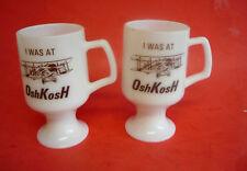 ** 2 Vintage OSHKOSH WISCONSIN MILK GLASS COFFEE MUGS