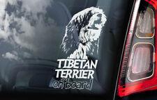Tibetan Terrier on Board - Car Window Sticker - Tsang Apso Dokhi Dog Decal - V01