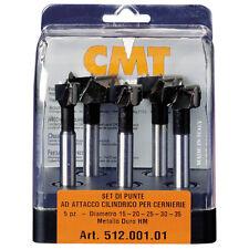 Set di 5 punte CMT ad attacco cilindrico per cerniere Cod.: 512.001.01
